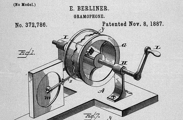 Patent granted to Emile Berlin for the Gramophone