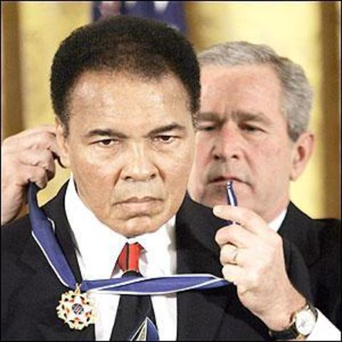 George W. Bush awards Muhammad Ali the Presidential Medal of Freedom