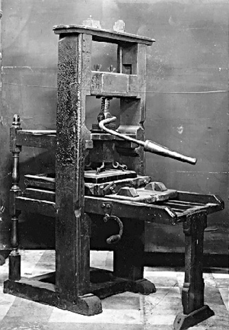 Johann Gutenberg invents a printing press.