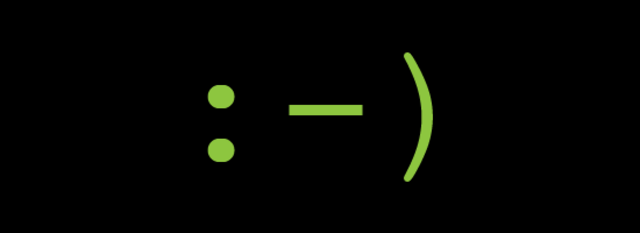 The first emoticon is used in an email.