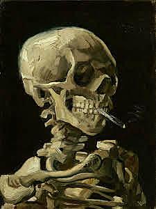 Calavera con un cigarrillo