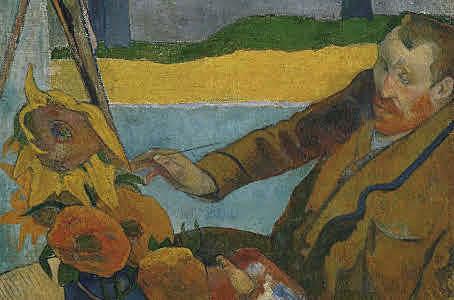 Van Gogh pintando girasoles