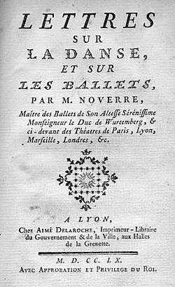 Nouverre's Lettressur danseet sur les ballets (Letters on Dancing and Ballets) Published