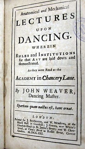 John Weaver Publishes Anatomical and Mechanical Lectures upon Dancing
