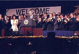 1987 - Vice President George H.W. Bush speaks at the National FFA Convention.