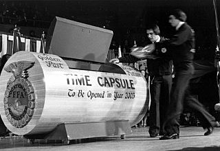 The time capsule from the 50th National FFA Convention is opened.