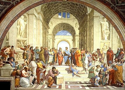 Raphael paints his masterpiece the School Of Athens.