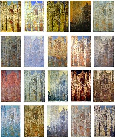 """Prof - Une même représentation déclinée en série / Claude Monet - """"Série des Cathédrales de Rouen"""" (série de 30 tableaux, Huile sur toile, 100 x 65 cm, Impressionnisme)"""