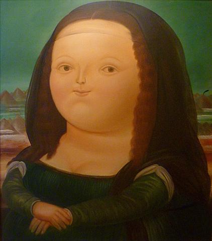 """Prof - Jeu(x) sur les emprunts ou les citations de codes et de styles / Fernando Botero - """"Mona Lisa à l'âge de 12 ans"""" (1959, 211 x 195,5 cm, Tempera sur toile, Musée d'Art Moderne, New York)"""
