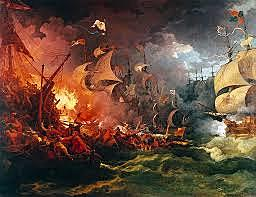 The Spanish Armada is defeated by the English navy