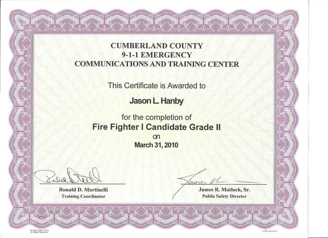 Completed first half of Firefighter 1 Training