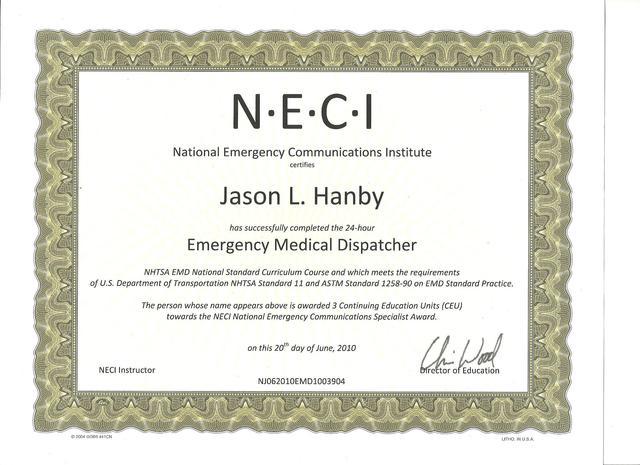 Completed Emergency Medical Disptacher