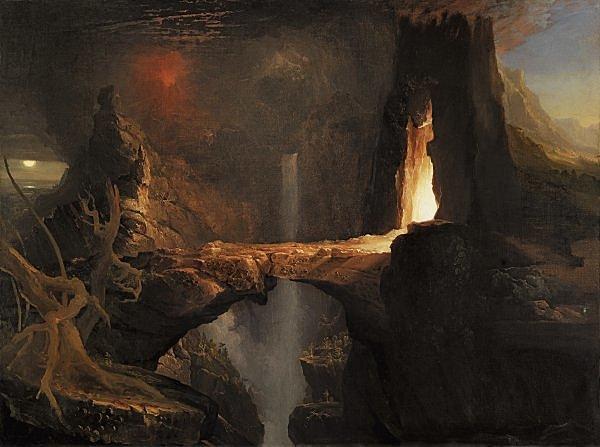 Moon and firelight | Thomas Cole