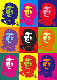 """BOVERO / déclinaison en série / Andy Warhol """"Che Guevara"""" Dimensions: 346x500cm  une même représentation déclinée en série en changeant de supports,de formats,d'outils,de style,de catégorie"""