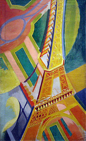 """GUILLIEZ Manon, représentation déclinée en série / Robert Delaunay, """"la Tour Eiffel"""" ( huile sur toile, 170 x 104 cm, exposée au musée d'art moderne à Paris )"""