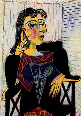 """Morin : Jeux sur les emprunts ou les citations de codes et de styles """"Dora Maar assise"""" Pablo Ruiz Picasso (Huile sur toile, 92 x 65 cm)"""