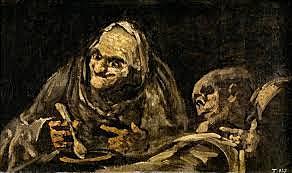 Dos viejos comiendo sopa de Goya