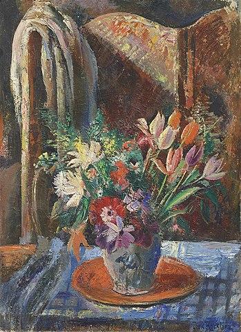Nature morte au bouquet et au paravent