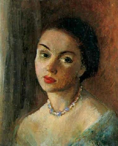 Portrait de femme au collier de perles