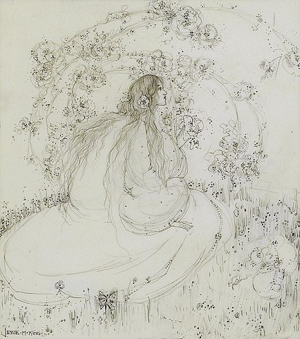 The girl beneath the bower