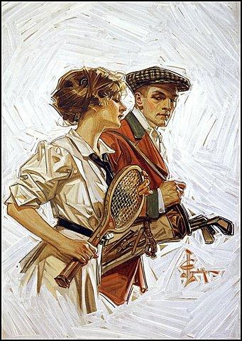 Golf or Tennis (Cover women's mag) de J.C Leyendecker, 1910