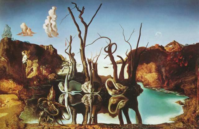 """Pintó """"Swans Reflecting Elephants"""""""