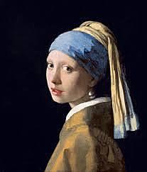"""Morin : Jeux sur les emprunts ou les citations de codes et de styles """"La Jeune Fille à la perle"""" Johannes Vermeer (Huile sur toile, 44,5 x 39 cm)"""