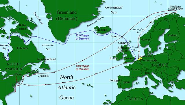 Engelsman Henry Hudson zet speurtocht voort naar een noorderlijke doorvaart