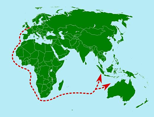 Schepen onder leiding van Cornelius de Houtman vertrekken naar Indië via de route van de Portgezen