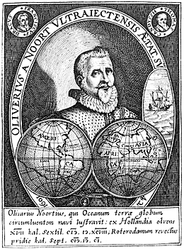 Rotterdamse zeeman-kaper Olivier van Noort vaart via Straat Magelhaes naar Indië