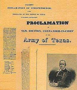 Sam Houston issues Proclamation