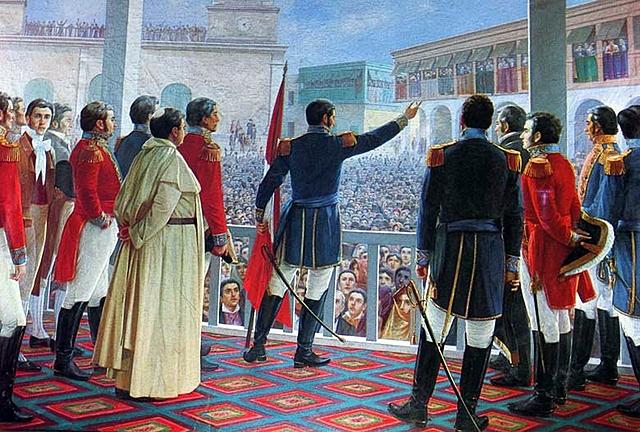 San Martin proclamo la independencia del Peru y fue declarado su Protector