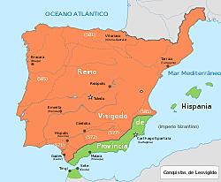 Hispania pasa a ser Reino Visigodo.