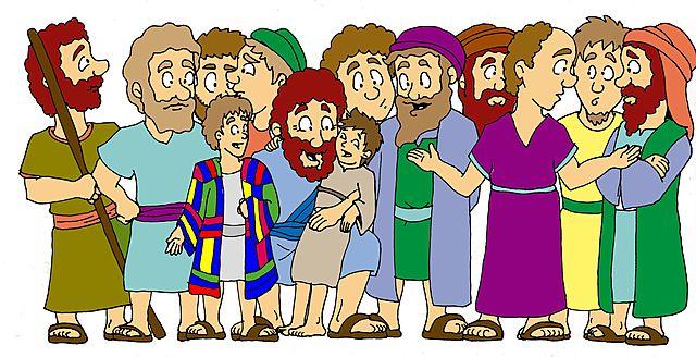 Jacob y sus 12 hijos, las 12 tribus de Israel.