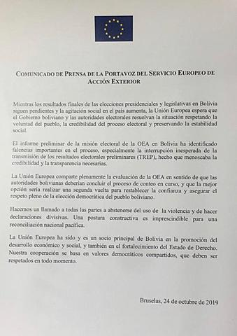 La Unión Europea recomienda una segunda vuelta en Bolivia