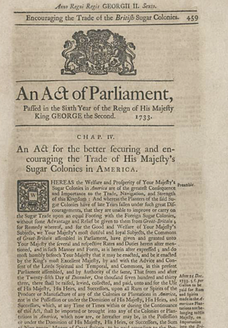 The Molasses Act of 1773