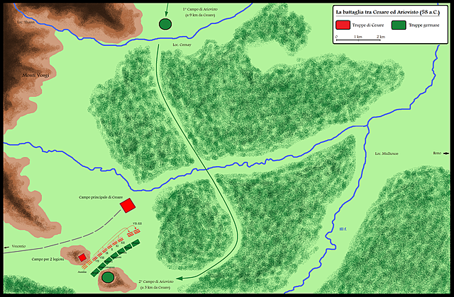 Defeated the Suebi at the Battle of Vosges