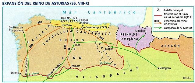 Expansión reino de Asturias se extiende a la zona de los vascos occcidentales y a la región costera de Galicia. Alfonso I y Alfonso II