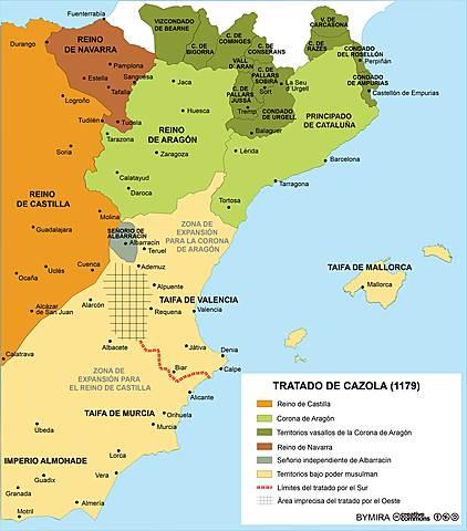 Tratado de Cazorla entre Castilla y Aragón. Reparto de las zonas de expansión de ambas coronas.
