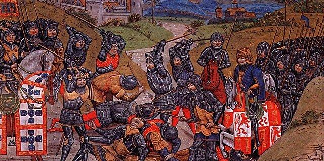 Batalla de Aljubarrota, derrota castellana, fin a la crisis portuguesa, consolidación de Juan I (dinastía Avis) como rey de Portugal