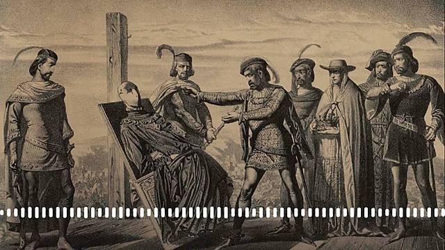 """Farsa de Ávila nobles castellanos deponen en efige al rey Enrique IV de Castilla y proclaman como rey  a su hermanastro Alfonso """"El Inocente"""""""