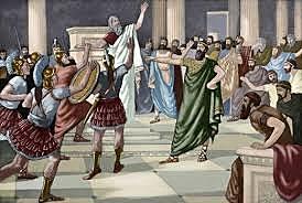Esparta derrota a Atenas en la Guerra del Peloponeso. Atenas es obligada a adoptar el gobierno de los oligarcas, los Treinta Tiranos
