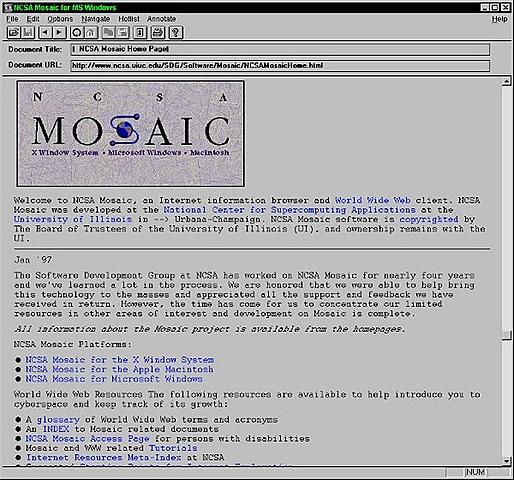 """( Web ) Le premier navigateur """"Mosaic"""" au grand public"""