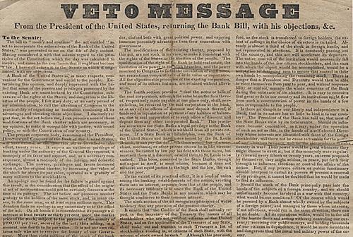 Andrew Jackson vetoes the Bank Recharter Bill