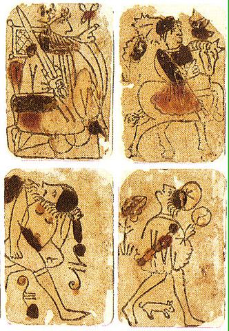 En Occidente se introdujo en la Edad Media, las primeras muestras de xilografía datan del siglo XIII d. C., se trata de naipes realizados con esta técnica