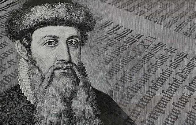 Gutenberg realiza en Estrasburgo las primeras impresiones con caracteres móviles.