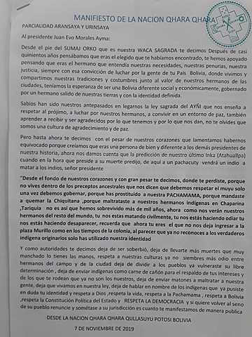 Nación Qhara Qhara se decepciona de Evo y le pide respetar la democracia