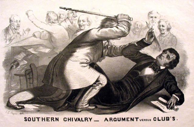 Charles Sumner is beaten by Preston Brooks