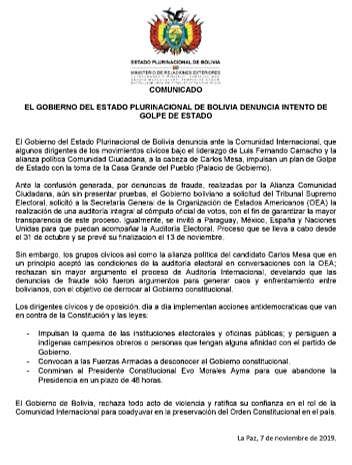 Cancillería denuncia golpe de Estado ante la comunidad internacional