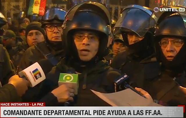 Comandante de La Paz dice que la Policía ha sido rebasada y teme por vida de efectivos